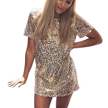 Sequins Gold Dress Summer Women Sexy Short T Shirt Dress Evening Party Elegant Club Dresses