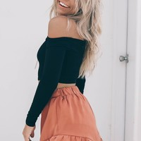 See Me Cinnamon Shorts With Ruffle Hem