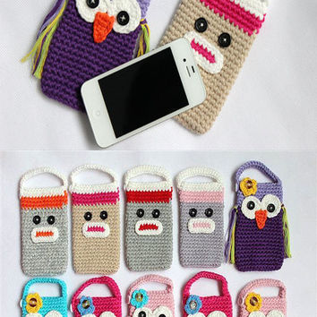 Cute Owl Sock Monkey Handmade Knit Cell Phone Bag Covers Girls New 10 Color Gift