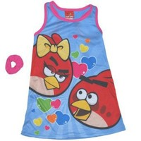 "Girl's Angry Birds ""Red Girl and Boy Birds"" Blue Dorm Night Gown with Scrunchie"