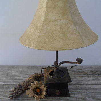Primitive Folk Art Antique Hand Crank Coffee Grinder Upcycled Lamp Vintage Cast Iron and Wood