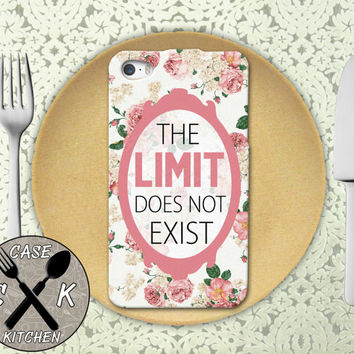 There Is No Limit Vintage Pink Rose Pattern Cute Tumblr Rubber Tough Case For iPhone 4/4s and iPhone 5 and 5s and 5c and iPhone 6 and 6 +