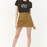 Gingham Zip-Pocket Mini Skirt