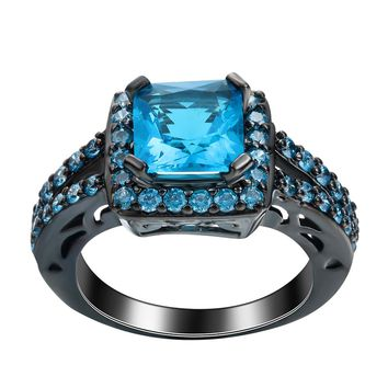 Fashion black gun vintage lovely women bridal blue CZ zircon rings jewelry for wedding gift 2017 party classic design brand ring