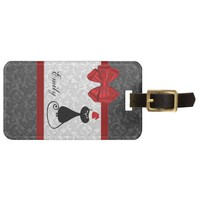 Cute girly chic Christmas cat damask personalized Bag Tag