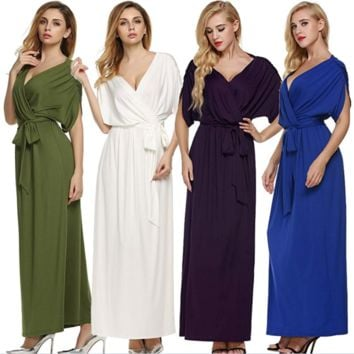 Large size V-neck large loose Evening  dress B0016451