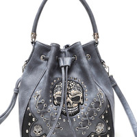 Skull Stitches And Studs Drawstring Bucket Style Bag