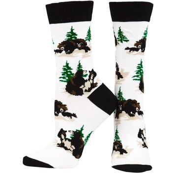 Bear Family In Woods Youth Socks