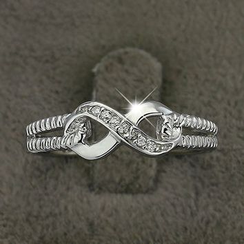 Genuine 925 Sterling Silver Jewelry Brand Rings For Women Wedding Lady Infinity Ring Size Gift For Mommy
