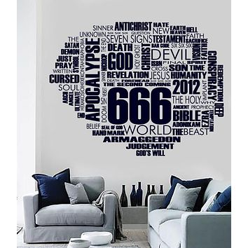 Large Vinyl Decal Wall Sticker 666 Word Cloud Vector Unique Gift Living Room Decor (n639)