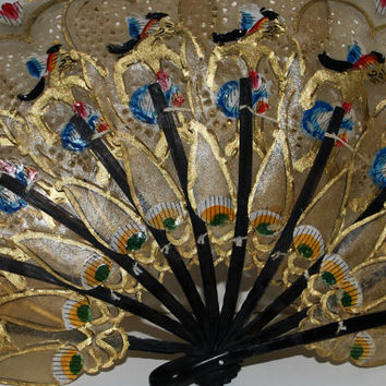 Art nouveau  fan free ship USA  decorated hand fan  parchment paper pierced  fan