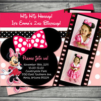 Minnie Mouse Birthday Invitation: Hot Pink & Polka Dot