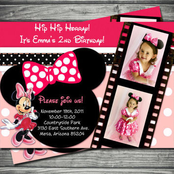 Minnie Mouse Birthday Invitation Hot Pink Polka Dot