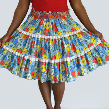 70's Handmade Floral Skirt with Shirred Elastic Waistline/ Tiered Ruffles