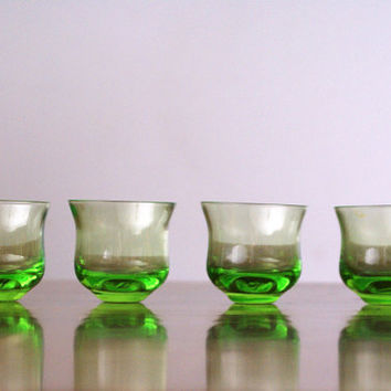 Retro Vintage Soviet USSR Green Emerald Carafe Glass Set Shot Glass Jar Jug Vial Canteen Cruet Decanter Set Flask Bottle NEW