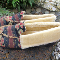 Vegan Men's Slippers In Hand Woven Javanese Ikat, Tribal Moccasin Style Plush Lined House Shoes - Riley