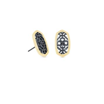 Kendra Scott: Ellie Gold Stud Earrings In Gunmetal Filigree