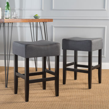 Portofino Backless Dark Charcoal Fabric Counter Stools (Set of 2)
