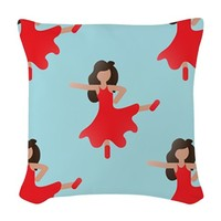 flamenco salsa emoji Woven Throw Pillow