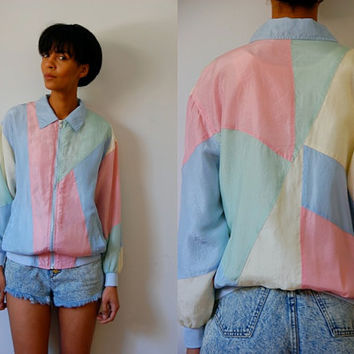 Vtg Color Block Pastel Silk Zip Up Windbreaker Jacket