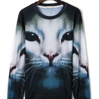 Multicolor 3D Cat Print Long Sleeve Sweatshirt
