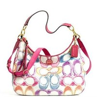 Coach Signature Stripe Scribble Multicolor Print Convertible Hobo 21915