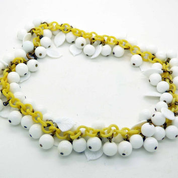 Vintage White Milk Glass Beads and Leaves Dangle Celluloid Plastic Chain Necklace
