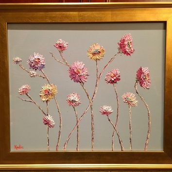 """""""Abstract Wild Flowers on Pale Gray"""", Original Oil Painting by artist Sarah Kadlic, 24x20"""" + Gold Gilt Frame"""
