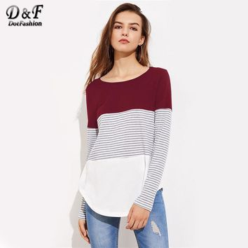 Striped Cut And Sew Curved Hem Tee Shirt Multi Color Women Round Neck Striped Long Sleeve Top Autumn T Shirt