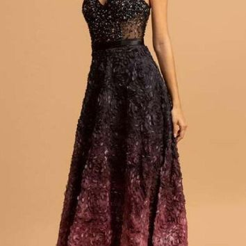 Long A-Line Ombre Mauve Prom Gown Spaghetti Straps