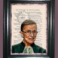 Supreme Court Judge Ruth Bager Ginsberg Art - Vintage Dictionary Book Page Art Upcycled Page Art Judge Print
