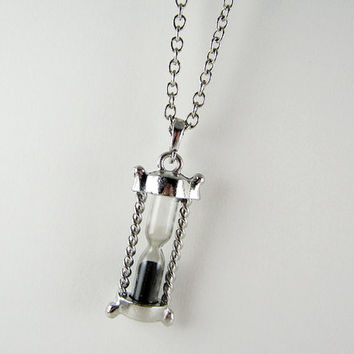 Silver Hourglass Necklace - Antique Silver Hour Glass - Sands of Time - Pendant