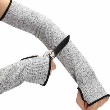 """Safurance Grey Safety Cut Heat Resistant Sleeves Arm Guard Protection Armband Gloves 17"""" Workplace Safety Protection"""