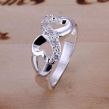 925 jewelry silver plated  Ring Fine Fashion Zircon 8 Ring Women&Men Gift Silver Jewelry Finger Rings SMTR049