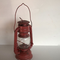 Vintage Red Oil Lantern Sun Brand Glass  Insert Metal Has  Wear / Distressing 9 Inches Tall  X  4.5 inches Wide Not Including Handle AS IS
