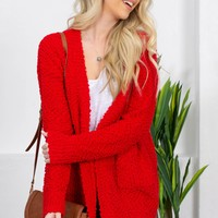 Sweet Sally Popcorn Cardigan | Red