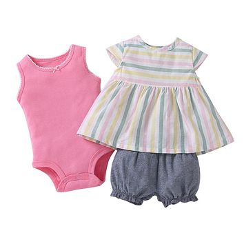 Cotton Baby girl clothes stripe dress pinks romper and shorts Baby Clothing Set baby  Girls summer