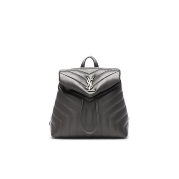Saint Laurent Small Supple Monogramme Loulou Backpack in Storm | FWRD