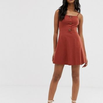 ASOS DESIGN mini button front square neck skater dress | ASOS