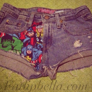 The Avengers comic book style distressed cut of shorts , low waist