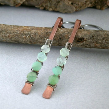 Green Chrysoprase Earrings Long Stick Earrings Copper and Oxidized Silver Ombre Gemstone Dangles Modern Wire Earrings Hypoallergenic