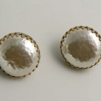 Classic Miriam Haskell Mabe Pearl Screw Back Earrings. Unique vintage, antique costume, estate jewelry