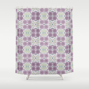 "Shower Curtain - 'Wild Flowers in Lavender' - 71"" by 74"" Home Decor, Bathroom, Bath, Dorm Decor, Girl Decor"