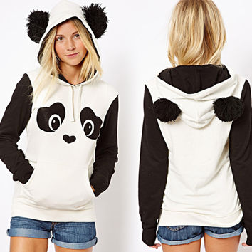 Women Lovely Panda Animal Ears Hoody Hoodies Pullover Tracksuit Top Sweatshirt