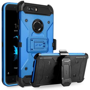 ZTE Blade Z Max Case, ZV Tough Armor Cover w/ [Heavy Duty Kickstand] Holster Clip and a [Shockproof Dual Layer Case] Strong Prot