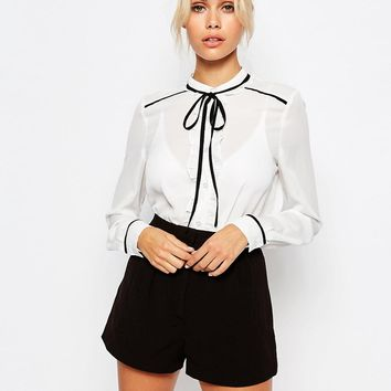 Fashion Union Sheer Blouse With Contrast Tie Up at asos.com