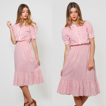 Vintage 70s CANDY Stripe Dress Puff Sleeve Striped PRAIRIE Dress Blouson Dress Pink & White Midi Dress