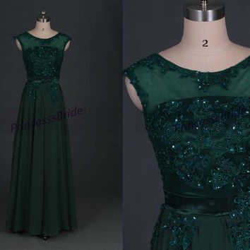 2014 forest green chiffon prom dresses with applique lace,chic floor length gowns for holiday party,latest cheap bridesmand dress under 150.