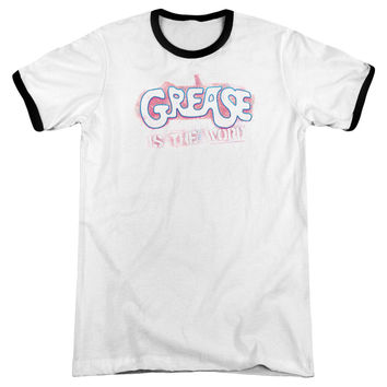 Grease Grease Is The Word White / Black Ringer T-Shirt
