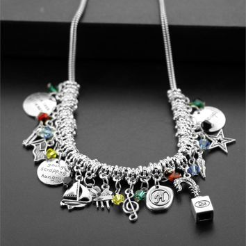 "Hamilton Broadway Musical Alloy Big Statement Necklace  ""Rise up""Bracelet with Star,Gun,Music Symbol,Leaf Charms Necklace"